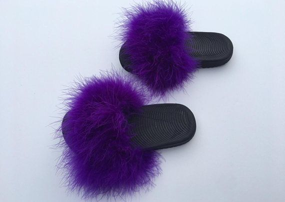 Kids Nike purple fuzzy fur slides | Fur