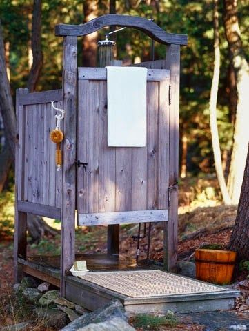 I WANT this rustic Outdoor Shower!  As much as I work outside...this is awesome!!