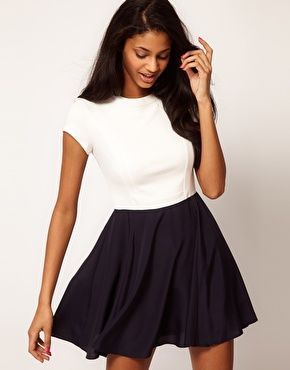 Navy and white ASOS Skater Dress.: Asos Skater, Black White Dresses, Colour Blocks, Fashion Inspiration, Asos Dresses, Colors Blocks, Blocks Woven, Colors Fashion, Black Skater Skirts