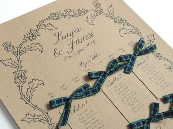 Scottish Thistle Wedding Seating Plan by STNstationery on Etsy, £45.00