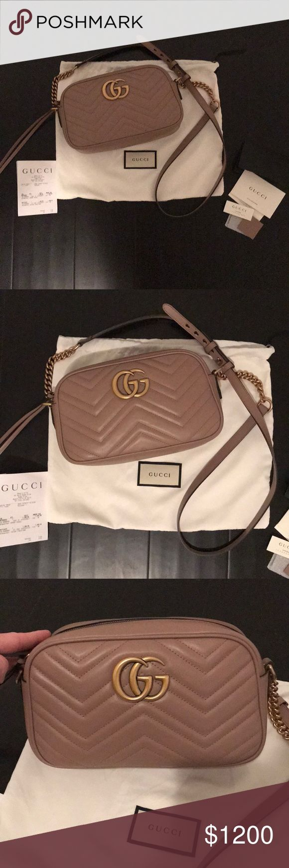 Gucci NEW GG Marmont small matelassé shoulder bag The small GG Marmont chain shoulder bag has a softly structured shape and a zip top closure with the Double G hardware. The chain shoulder strap has a leather shoulder detail. Made in matelassé leather with a chevron design. Color is Taupe- a nice pink neutral nude. Used once with no signs of wear! Beautiful purse, this is the small not the mini. Fits a wallet iPhone plus lipstick etc. Not sure if I will sell at this time, I am trying to…