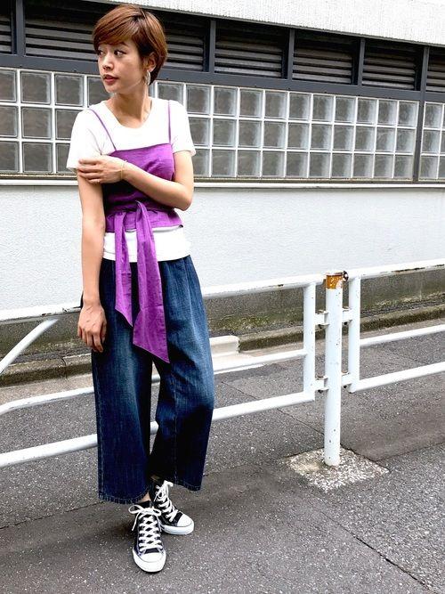 Tシャツ×デニムにプラスワンで可愛い新作ビスチェ🎀 紫が去年ぐらいから気になっている‥♩