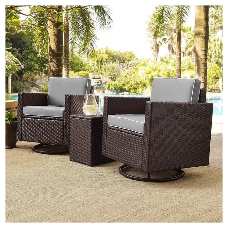 Palm Harbor 3pc Outdoor Wicker Conversation Set With Grey Cushions Two Swivel Chairs Side Wicker Conversation Sets Outdoor Wicker Furniture Crosley Furniture