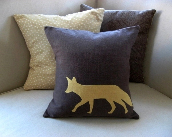 Winter Woodland Fox Silhouette Appliqued Pillow Cover, Chocolate Brown & Mustard Yellow,
