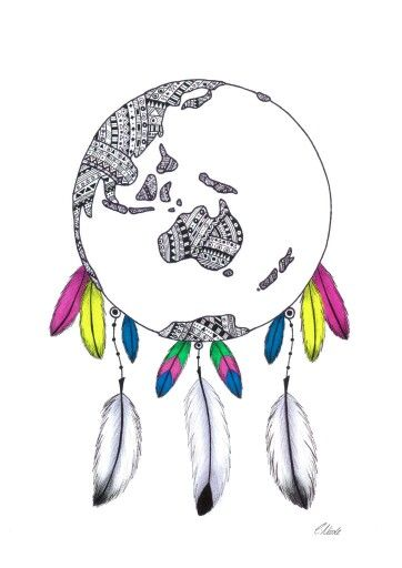 22 best best dreamcatcher tattoos in the world images on pinterest colourful world globe dream catcher print gumiabroncs Images
