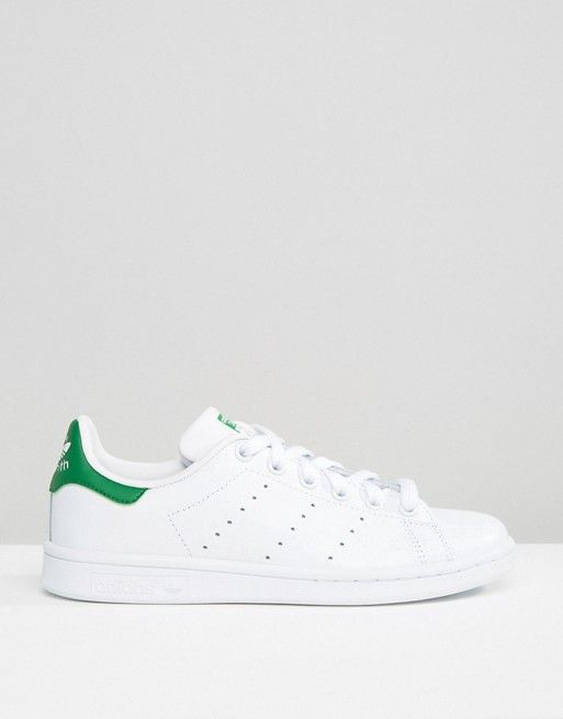 Shop adidas Originals Unisex White And Green Stan Smith Trainers at ASOS.