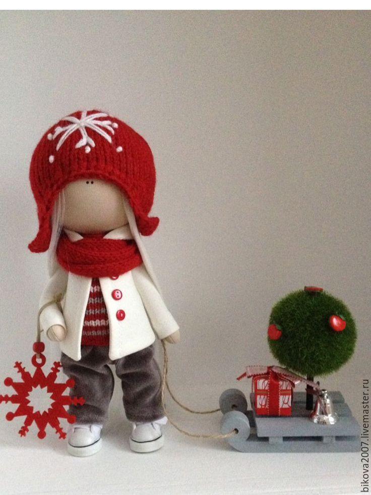 Купить Новогодняя куколка - ярко-красный, тыквоголовка, кукла ручной работы, кукла в подарок