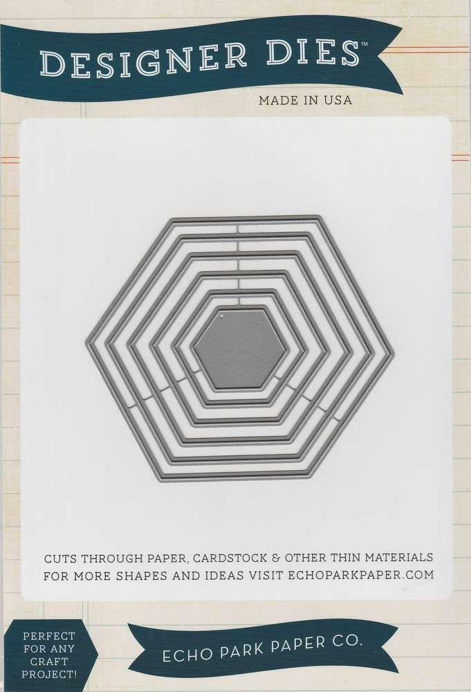 Echo Park Designers Dies - Scalloped Hexagon Set - 5 Formen - Durchmesser von 2,8 cm bis 9,2 cm - 24,99 € / Set