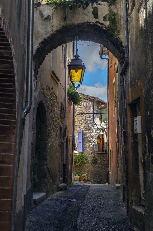 A quaint alleyway in the city of Crest in the Drome department (Rhone-Alpes region) of France