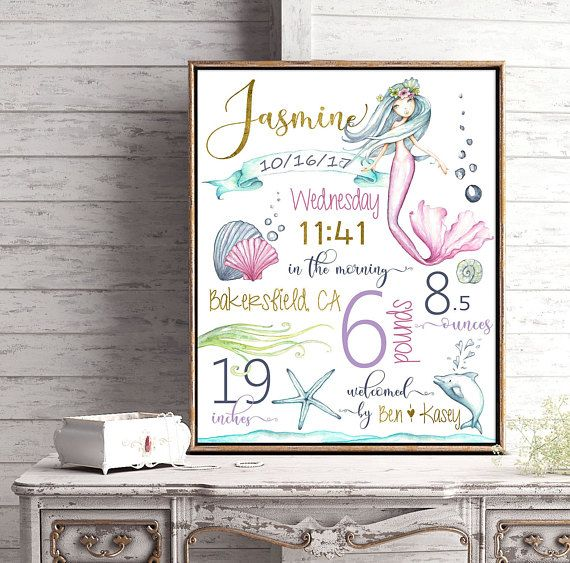 Mermaid theme Nursery Birth stats, Birth details, Under the sea, Purple, blue, Nursery decor, Mermaid nursery, baby girl, new baby, dolphin