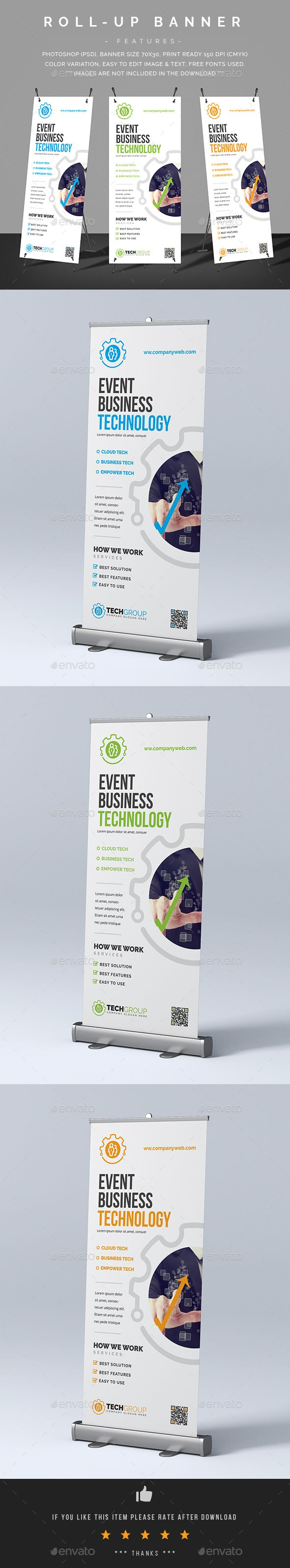 Tech Roll-Up Banner Template PSD