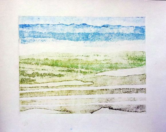 Quantocks  #painting #printing #printmaking #collagraphic #landscape #quantocks #somerset #print #waterbased #cartridge #view #blue #yellow #green #brown #mountains #collagraphy #collagraph #coleridge #sublime #lyrical #romanticism #otherworld #adamgrose