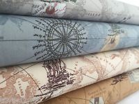 Antique Vintage Map print 100% cotton poplin fabric **Nautical Ocean Boat Ship**