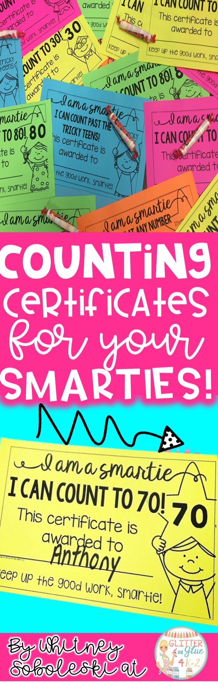 Motivate your little ones to reach oral counting goals with these certificates! Includes certificates up to 120 and for skip counting! Keywords: oral counting, kindergarten, intervention, special education, special education teacher, counting, teaching counting, how to teach counting, student awards, student certificates, Astrobrights, math, counting to 100, counting to 120 #mathforkindergarten