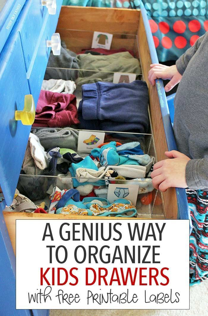 Organize your dresser with this genius solution and teach kids how to put their clothes away too! This is the perfect tool for keeping kids clothes organized and for teaching them to help with laundry - maximize your space and minimize your stress. Includes free printable kids clothes labels too! (sponsored)