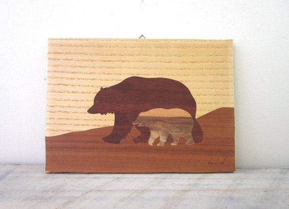Vintage Wood Inlay Picture with Bears Wall Hanging by 22BayRoad