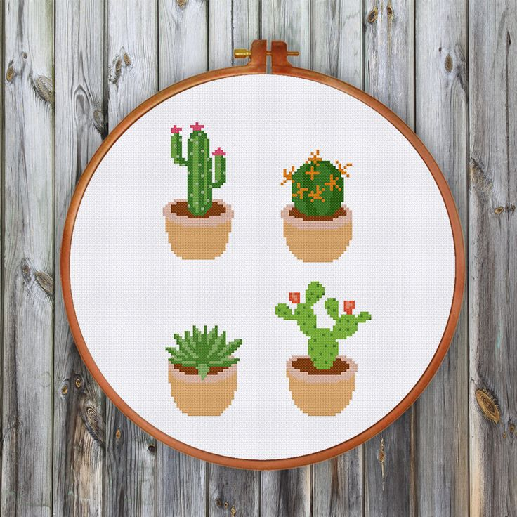 Cactus cross stitch pattern Cute modern succulent by ThuHaDesign