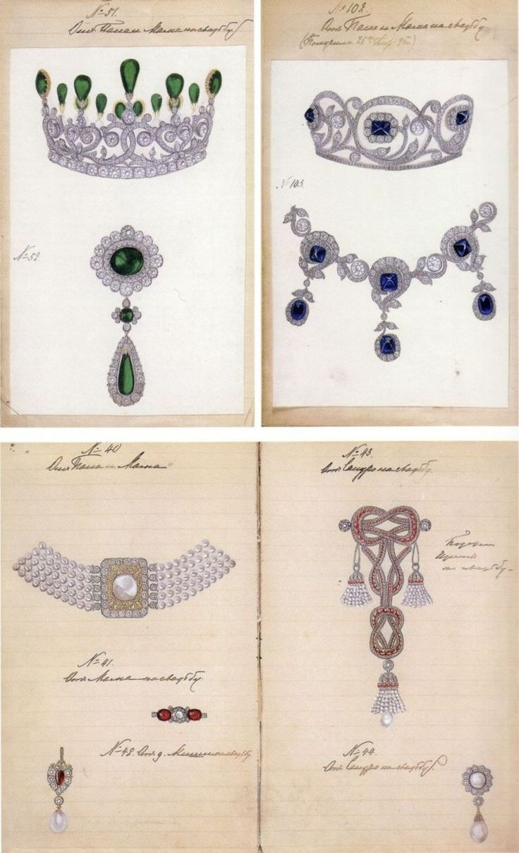 """These are some sketches of jewellery produced for the wedding of TIH Grand Duke Alexander Mihailovich and Grand Duchess Xenia Alexandrovna in 1894."