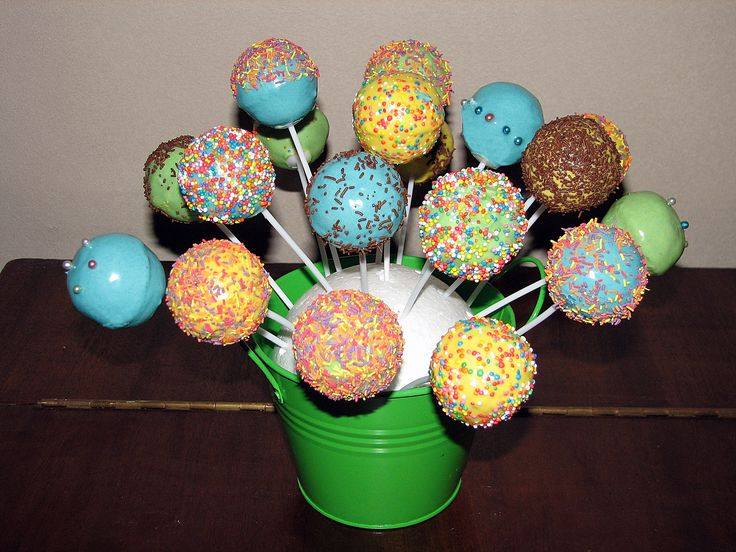 Colourful Cake Pops. Chocolate cake coated in coloured white chocolate. July 25, 2013