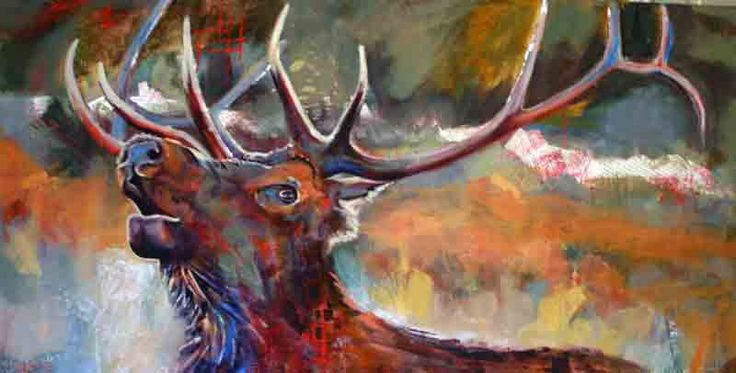 Portrait of a Male Stag Bugling, Acrylic, on exhibit at the Art Gallery of Bancroft July 2016