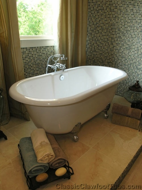 139 best clawfoot bathtubs images on pinterest room for Built in clawfoot tub