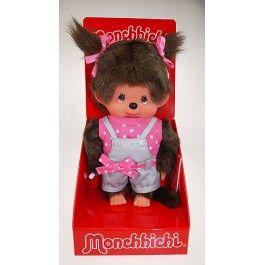 Monchichi 20 cm meisje tuinbroek grijs met roze shirt. Met 2 strikjes in het haar.