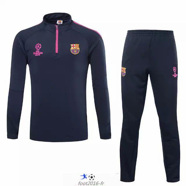 boutiques Survetement Barcelone Enfant kit Le bleu Marine 2015 2016 -02 destockage