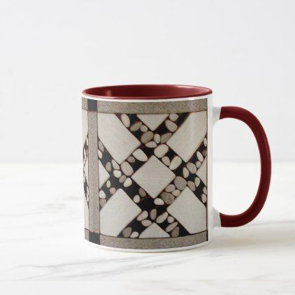 AU NATURAL 3D FAUX TILE PATTERN EXCEPTIONAL MUG - individual customized designs custom gift ideas diy