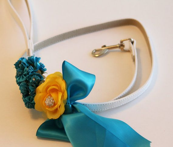 #Blue Yellow wedding dog Leash #Wedding accessory High by LADogStore, $45.50
