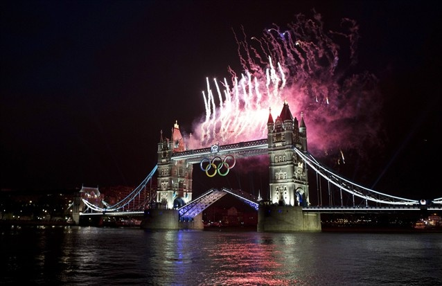 London Olympic Opening Ceremony - Slideshows   NBC Olympics - fireworks off the Tower Bridge