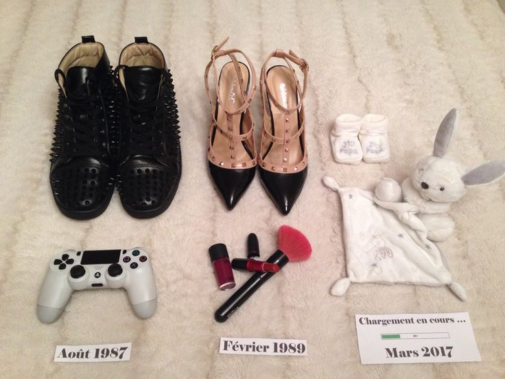 Annonce grossesse pregnant pregnancy original cute playstation make up doudou shoes