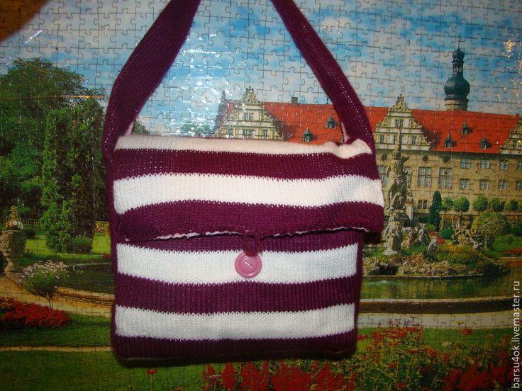 """Купить Сумка для коляски """"Лиловый сон"""" - тёмно-фиолетовый, вязание спицами, сумка, детская сумка"""