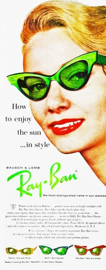RayBan Ad, the faded colours onto a worn surface along with the font of the Ray-Ban logo at an angle reflect the 1950s.