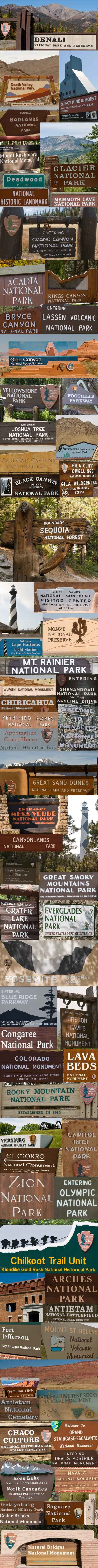For National Parks week here's some NPS inspiration... a collage of parks signs of 68 of the 123 NPS sites we've visited on our Journey.: Nps Parks, Parks Signs Someday, Buckets Lists, American Travel, Outdoor, National Parks Signs, Us National Parks, Travel Posters, Nps Signage