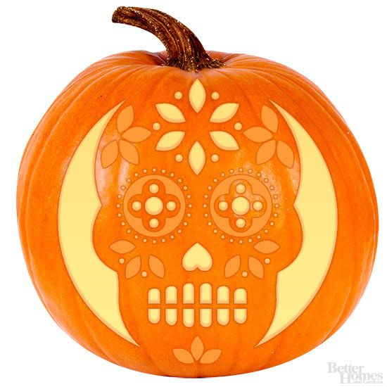 Special stencil request from our Facebook friends! We asked you on Facebook for your must-have pumpkin design and many of you wanted a sugar skull from the Day of the Dead celebration. We present you with this glowing grinner as a fresh way to honor the occasion.