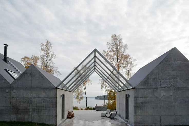 Summerhouse Lagnö / Tham & Videgård Arkitekter When approached from the north, the entrance presents itself as an opening between the buildings giving direction towards the light and water. It is a first outdoor space protected from rain by a pitched canopy of glass.