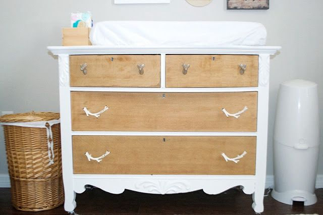 the Three Little Birdies. Woodsy Boy Nursery. Rustic changing table.
