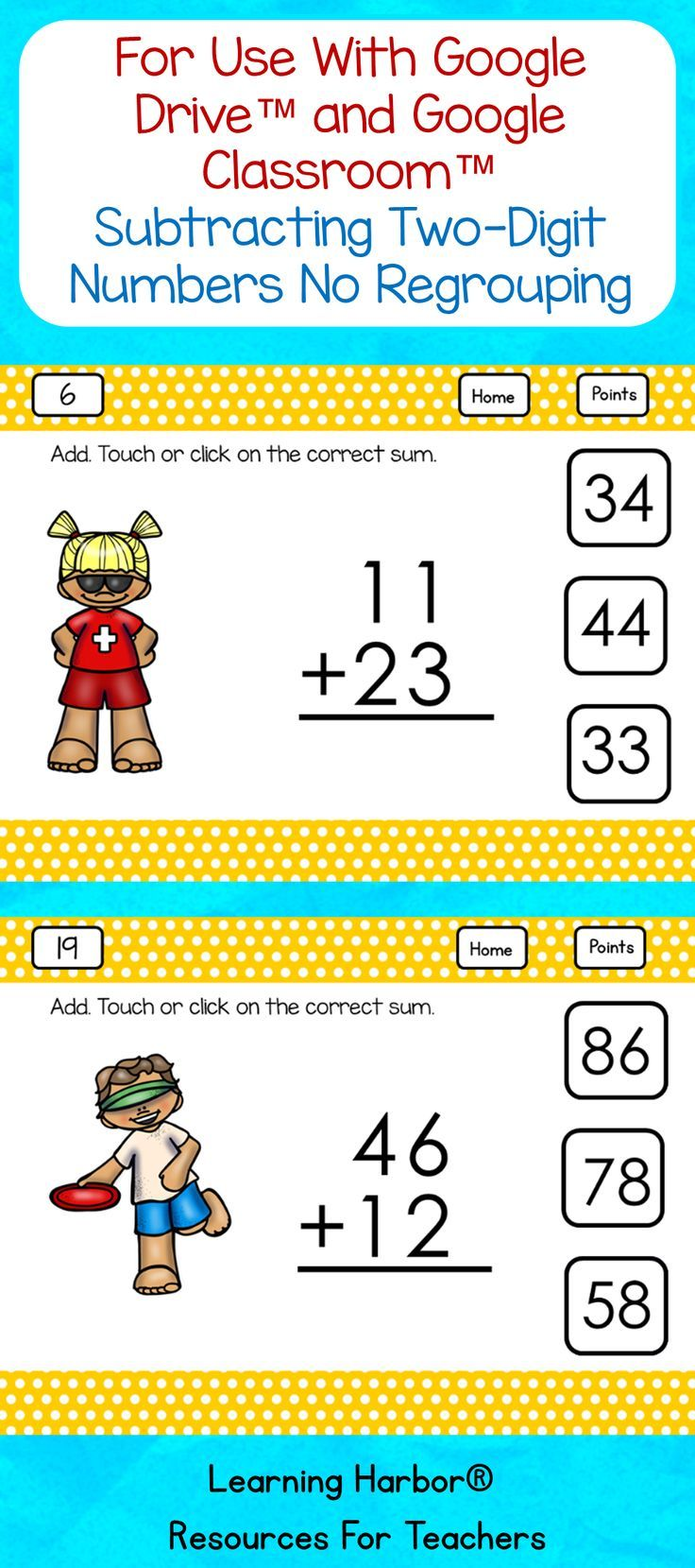 Distance Learning Add 2 Digits No Regrouping Beach Kids For Google Classroom Online Math Google Classroom Resources Resource Classroom How to teach two digit addition without