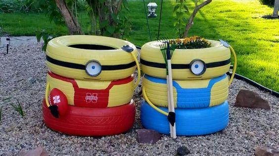 http://artesanatobrasil.net/jardim-com-pneus-coloridos/ - Minions de pneus