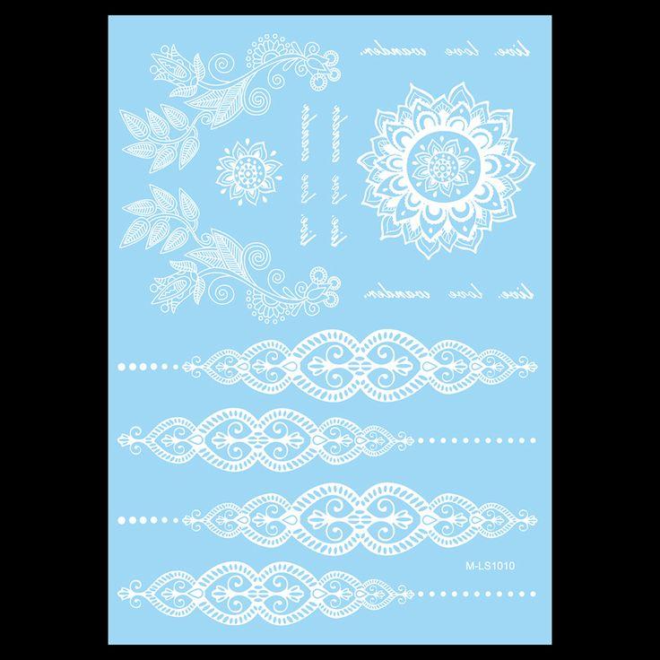 1 adet Su Geçirmez Dövme WM-LS1010 Geçici Beyaz Kadınlar için Vücut Boyun Sanat Çiçek Mektup Takı Macunu Dövme Kına Sticker Düğün
