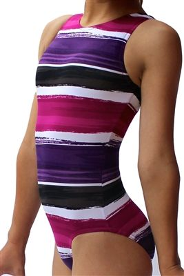 his Pink & Purple leotard is a favorite with its horizontal Striped pattern! This leotard is one of our This Perfect fit leotard has a small scoop back. All Leotards are made with 4-way stretch Spandex to ensure full range movement and no restrictions! Mycustomleotards.com