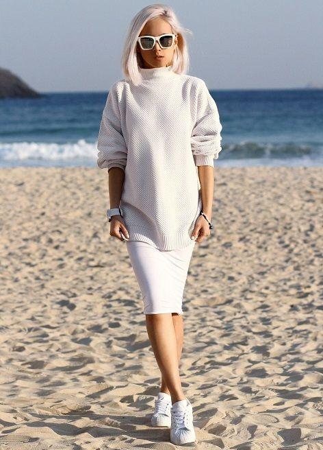 прямая белая юбка, стильный образ на каждый день, уличная мода весна лето, street style, MsKnitwear, Knitwear (фото 5)