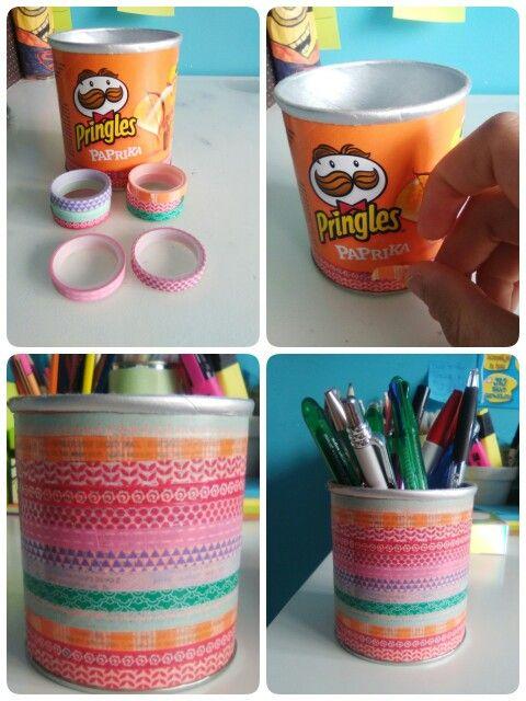 Een eigen pennenbakje maken met wasabi tape en een potje
