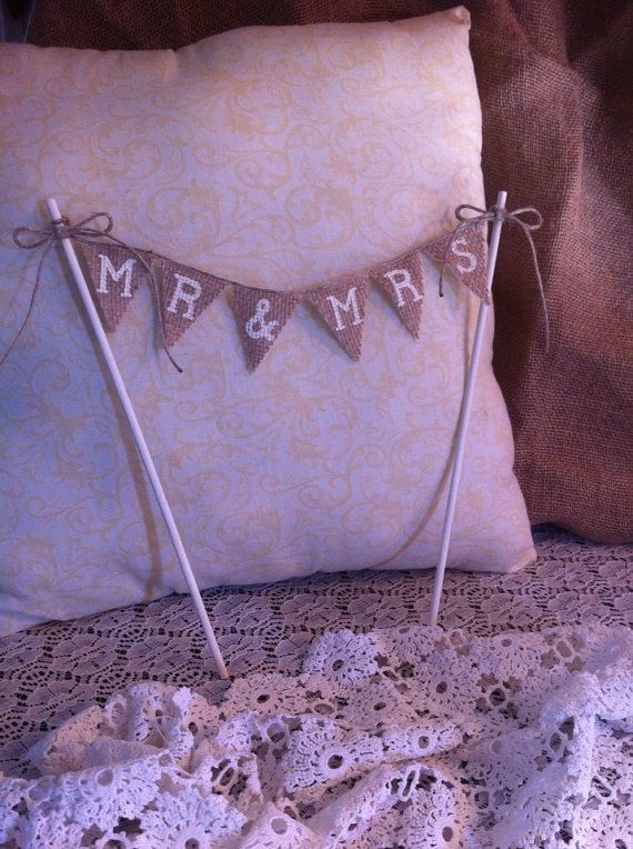 burlap wedding cake toppers | Mr  Mrs mini burlap banner cake topper for rustic wedding