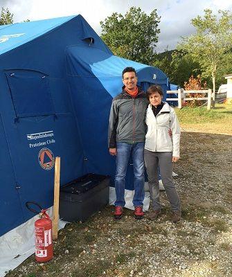 Due tecnici del Comune nelle zone del terremoto per dare una mano