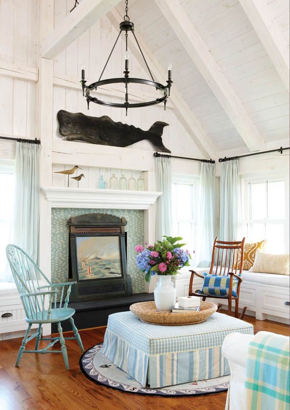 Nantucket style interior-whale of a nice roomBeach House, Beach Cottages, Dreams, Windows Seats, Living Room, Sitting Room, Bedrooms Decor, Nantucket Style, New England Home