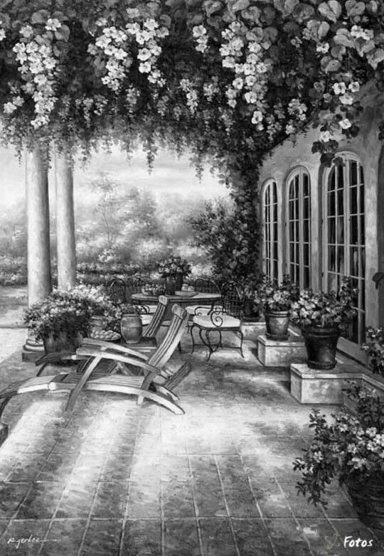 patio and flowers coloring page