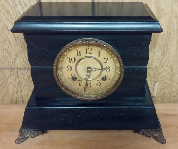 Antique New Haven Clock Company Black Mantel Clock 1850-1920