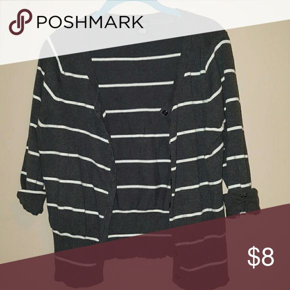 Rue 21 gray striped cardigan Charcoal gray w/white stripes cardigan. Size XL. practically new, wore once maybe twice. Rue 21 Sweaters Cardigans