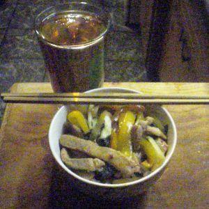 Bahn Mi pork and vegetables over Udon noodles